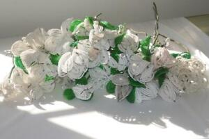 HUGE LOT VINTAGE FRENCH GLASS SEED BEAD FLOWER STEMS BOUQUET WHITE