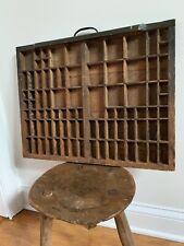 Vtg Wood Wooden Printers Type Letterpress Drawer Case Box Display Curio Shelf