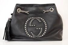 Gucci black pebbled leather tassel GG logo stud shoulder handbag purse NEW $2000