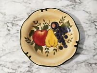 "Home Trends Granada 11"" Dinner Plate Tan with Fruit Green Trim"