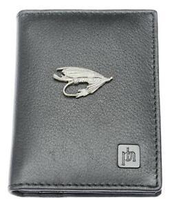 Fishing Fly Bifold Card Holder Leather Black Wallet RFID Safe 130
