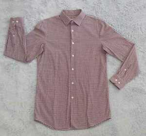 Perry Ellis Portfolio Button Up Shirt Men SMALL 14.5 32/33 Long Sleeve Very Slim