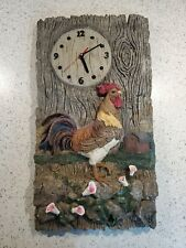 "Large Decrotive Resin Rooster Wall Mounted Clock 18""T X 9.5"" Wide"