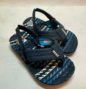 Reef Little Ahi Flip Flop (Toddler Size 3/4) Water Wave Blue nwt