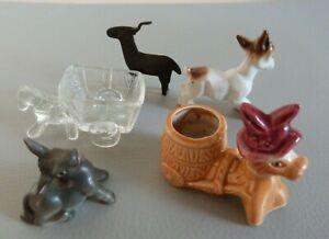 Donkeys Figurines Collection of 5 Donkeys - Glass, Ceramic, Metal & Porcelain