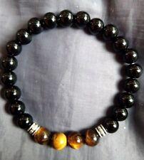 black tourmaline and tigers eye crystal 8mm bead healing bracelet chakra
