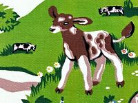 SALE! Animal Santuary Barkcloth Vintage Fabric 1940's Remnant Vegan Animal Lover