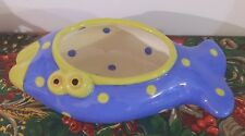 Hand Painted Ceramic Open Mouthed Fish Planter Blue Green Polka Dots Signed