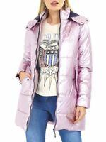 Womens Puffer Jacket Padded Metallic Pink Longline Coat Size 12 8 10 14 16
