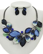 Statement Multi Blue Epoxy Coating On Leaf drops Crystal Necklace Earring set