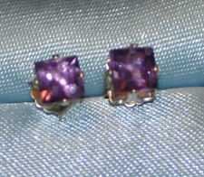 BEAUTIFUL 4MM  PRINCESS AMETHYST STUDS HANDCRAFTED  IN STERLING SILVER 1.0 CTW