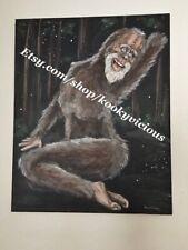 """Dirty, Hairy"" - Bigfoot Sasquatch canvas print painting wall art original 16x20"
