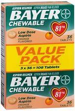 Bayer Chewable Low Dose 'Baby' Aspirin 81 mg Tabs Orange Value Pack 108 Tabs 5pk