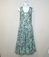 Siren Floral Fit and Flare Tank dress green cotton light cottage core boho