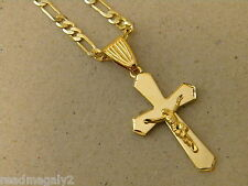 Girl's Lady's Yellow Tone Gold Plated 20in. Figaro Necklace & Flat Cross Set New