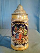 "Vintage ""EIN VOLLES GLAS DES GASTES SPAB"" Lidded Ceramic Beer Stein"