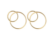 Fashion Statement Simple Gold Silver Plated Big And Small Circle Stud Earrings