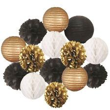 14Pcs/Set Black Gold White Tissue Pom Poms Paper Flowers Paper Lanterns party