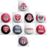 "TORONTO FC - MLS pinback buttons - soccer team pin badges - 10 total 1"" pins"