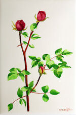 Red Rose, Flower, Garden, Original Watercolor Painting, Signed, Art