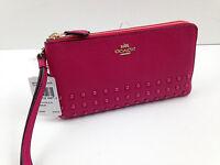 NWT COACH Wristlet 54709 Double Zip Wristlet Cerise Pink Rivets Wallet FREE SHIP