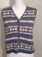 L.L.Bean  Womens Button Vest Knit Top Size S All Cotton