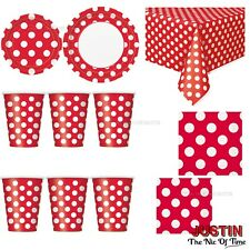 Red Colour Spot Polka Dot Disposable TABLEWARE Events Catering Birthday Party