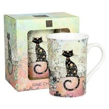 Quality Fine China Colour & Black Cat Mug by Bug Art with Gift Box Cup Boxed