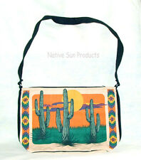 "Purse Handbag Saguaro Cactus Design Cotton Canvas 13x19"" Zips close Southwest"
