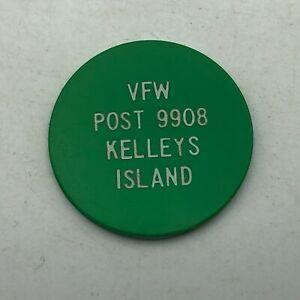 Vtg VFW Post 9908 Kelleys Island Ohio Advertising Drink Chip Green Token K3