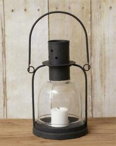 Primitive small Candle Lantern in Black Tin with Led Candle