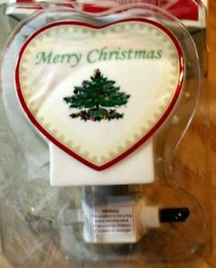 "SPODE China Christmas Tree on Heart ""BLESS THIS HOME"" NIGHT LIGHT 4056553 ~ NEW"