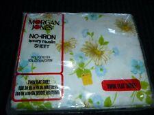 Nos Vtg Morgan Jones Twin Flat Sheet Blue Daisies 50/50 muslin Flower Song