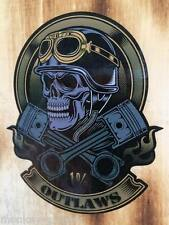 New 1% Outlaws old school skull autocollant/sticker Motard Bobber Chopper rétro