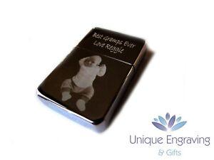 Photo Engraved Star Polished Chrome Flip Top Lighter inc Box - Valentine's Gift!