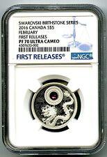 2016 CANADA $5 SILVER PROOF NGC PF70 FEBRUARY AMETHYST BIRTHSTONE MADE W CRYSTAL