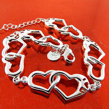 BRACELET CUFF BANGLE GENUINE REAL 925 STERLING SILVER SOLID LADIES HEART DESIGN