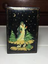 Vintage signed lacquer palekh hand painted Russian box