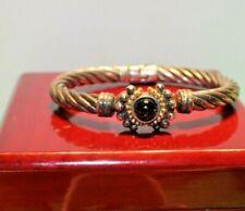 Flli Menegatti hinge bracelet 925 silver with onyx and 18K gold trim 29.7 Grams