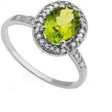 Peridot Solitaire with Accents White Gold 10Carat Fine Rings