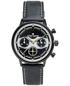 LUCKY BRAND Fairfax Racing Chronograph leather strap 40mm Men's watch BLACK