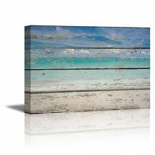 "Canvas Prints- Tropical Beach on Vintage Wood Background- 24"" x 36"""