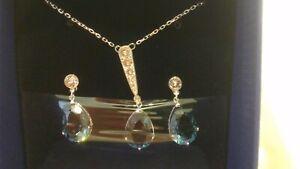 ** neue Swarovski Vintage Rhodium & blau Kristall Tropfen Anhänger Ohrring Set 5142379