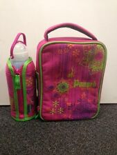 NEW DECOR PUMPED PINK & GREEN INSULATED LUNCH BAG, BOTTLE & SNACK POT SET
