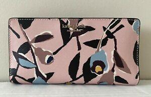 New Kate Spade Cameron Large Slim Bifold Leather wallet Paper Rose Pink multi