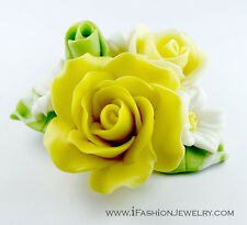 Handcraft Handmade Yellow Rose Clay Green Leaf Leaves Flower Brooch Pin Jewelry