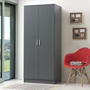 2 Door Double Wardrobe In Dark Grey - Bedroom Furniture Storage Cupboard