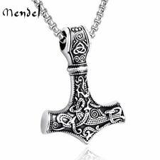 MENDEL Mens Stainless Steel Norse Viking Thors Hammer Mjolnir Pendant Necklace