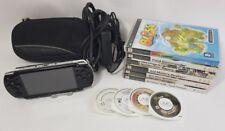 Sony Psp Consola Negra PSP-2003 Bundle Lote con 10 Juegos probado y en funcionamiento