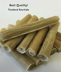 100 x 5 INCH QUALITY THICK RAWHIDE PRESSED CIGAR DOG CHEWS SUPER FAST DELIVERY